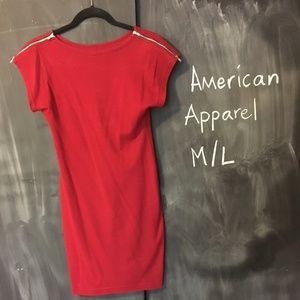 American Apparel Zip-Shoulder Cotton Mini Dress